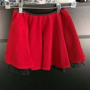 Other - Girl's Red Velvet Skirt with built in black lace